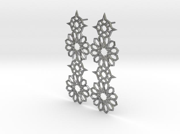 Mudejar Silver Earrings in Natural Silver