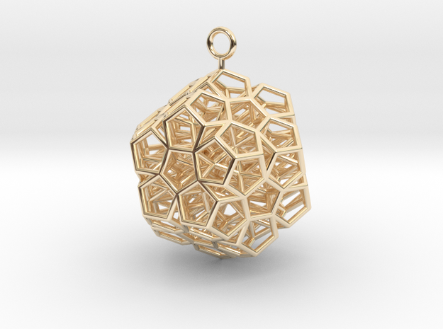 Level 2 Sierpinski Dodecahedron earring (medium) in 14k Gold Plated Brass