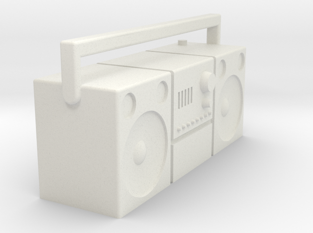 1/16 Radio cassette player, old type  in White Natural Versatile Plastic