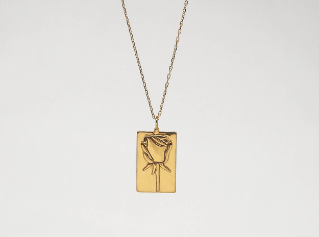 Rose Pendant in 18k Gold Plated Brass
