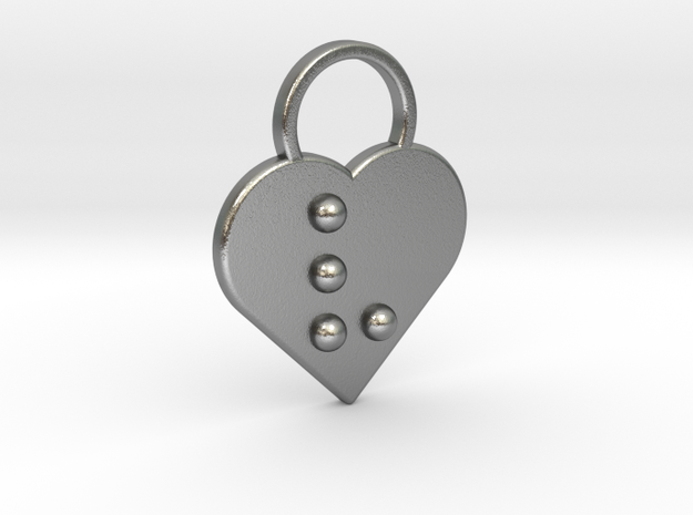 """""""v"""" Braille Heart in Natural Silver"""