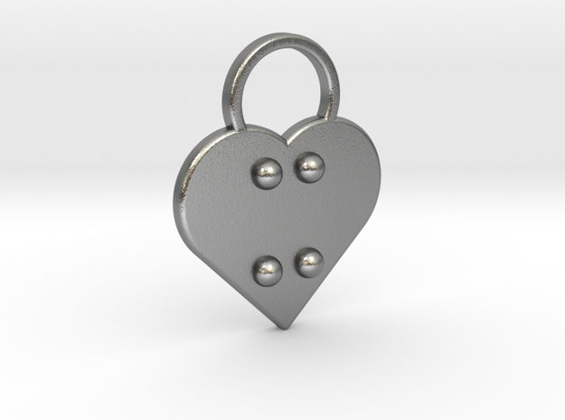 """""""x"""" Braille Heart in Natural Silver"""