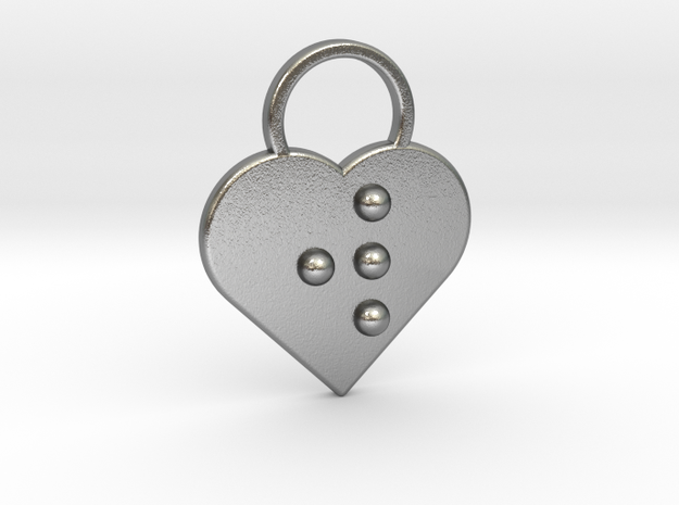 """""""w"""" Braille Heart in Natural Silver"""