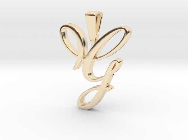 INITIAL PENDANT G in 14k Gold Plated Brass