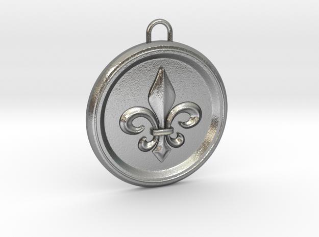 Pendant Fleur-De Lis in Natural Silver