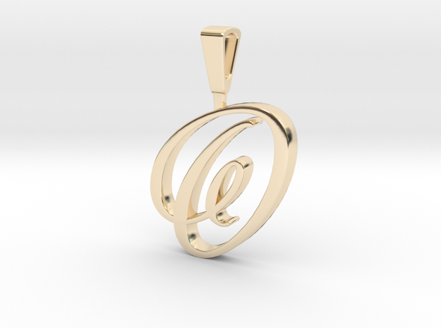 INITIAL PENDANT O in 14k Gold Plated Brass