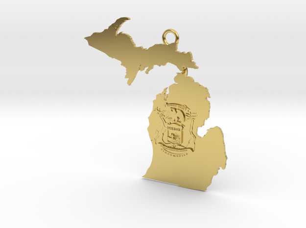 Map of Michigan with Michigan Flag Earring in Polished Brass