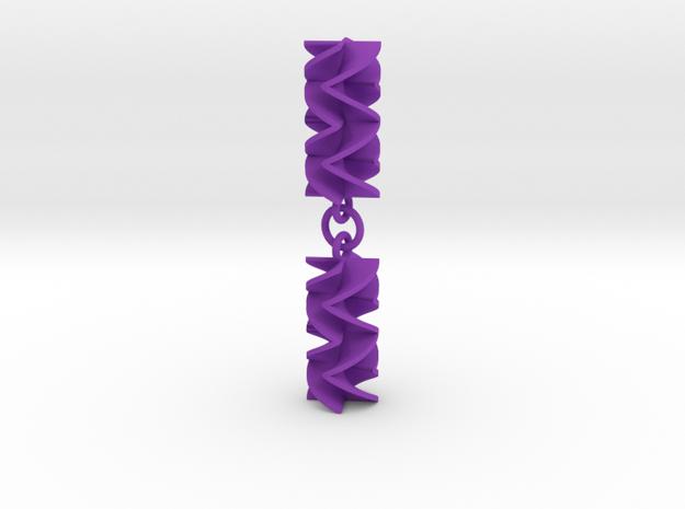 Sawtooth Rotini Earrings in Purple Processed Versatile Plastic