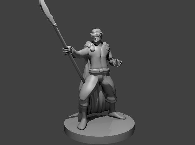 Human Male Warlock Blind with Glaive in Smooth Fine Detail Plastic