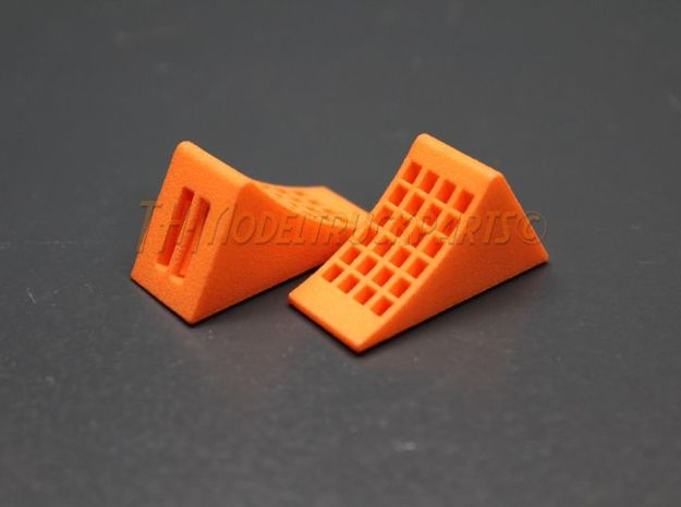 THM 00.0032 set of wheel chocks Tamiya truck in Orange Processed Versatile Plastic