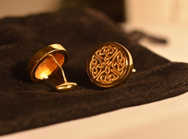 Dara Celtic Knot cuff links in 14k Gold Plated Brass