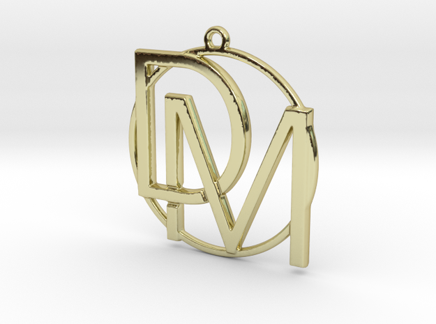 D&M and circle monogram in 18k Gold Plated Brass
