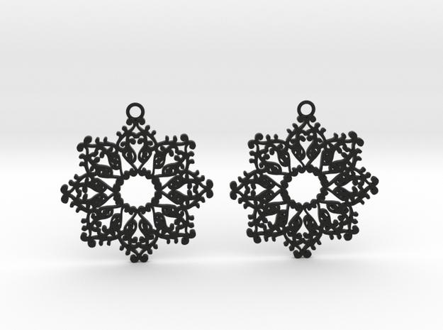 Ornamental earrings no.4 in Black Natural Versatile Plastic