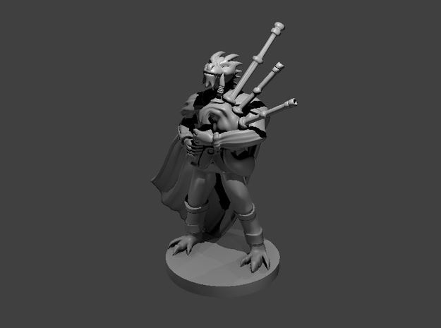 Dragonborn Male Bard with Bagpipes in Smooth Fine Detail Plastic