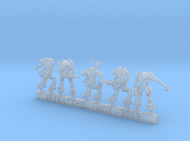 Alien warriors with rifles sprue in Smooth Fine Detail Plastic: 6mm