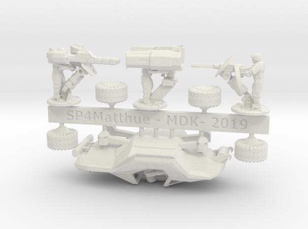 Scifi Marine Attack Buggy Sprue in White Natural Versatile Plastic: 6mm