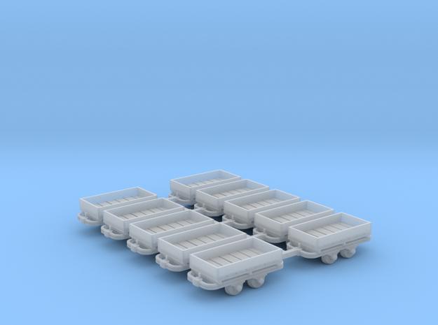 Niederbordwagenlore 10erSet - TTf 1:120 in Smooth Fine Detail Plastic