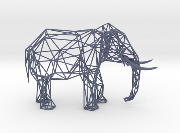 Wire Elephant in Matte Full Color Sandstone