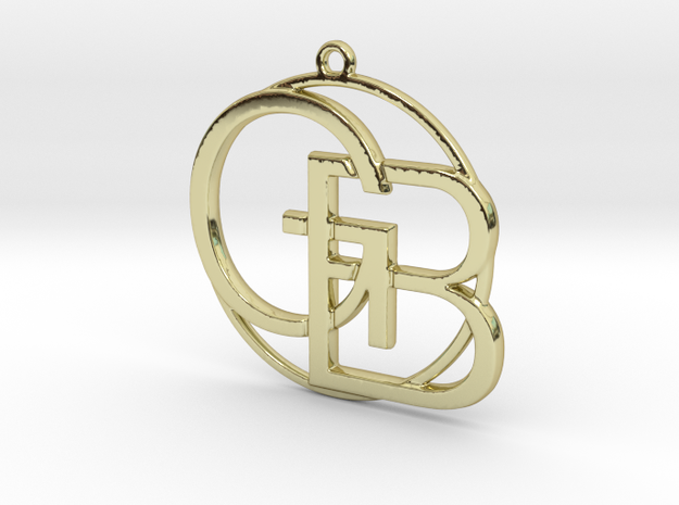 G&B Monogram Pendant in 18k Gold Plated Brass