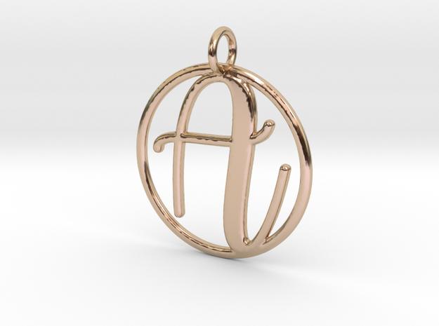 Cursive Initial A Pendant in 14k Rose Gold