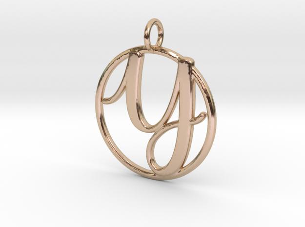 Cursive Initial Y Pendant in 14k Rose Gold