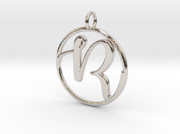 Cursive Initial R Pendant in Platinum