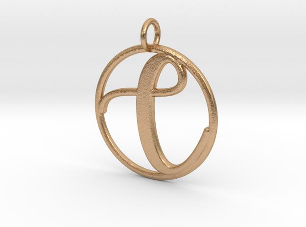 Cursive Initial C Pendant in Natural Bronze