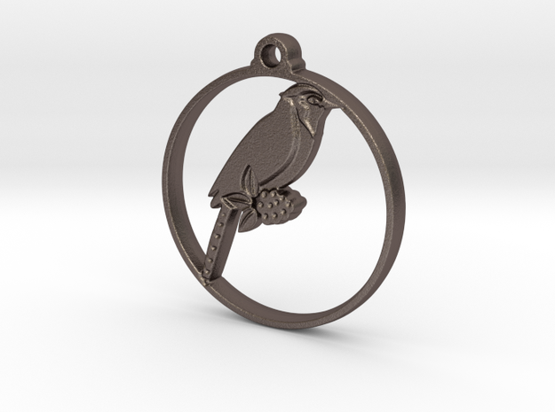 Blue Jay Pendant in Polished Bronzed-Silver Steel