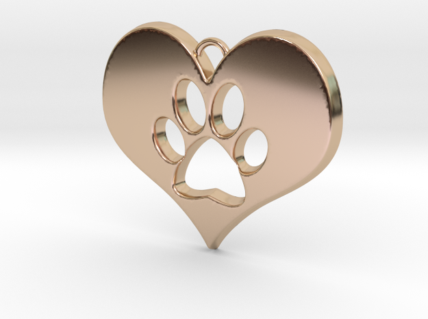 Paw Print Heart in 14k Rose Gold