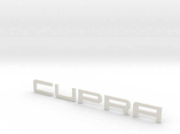 Leon Cupra Logo Text 200mm in White Natural Versatile Plastic