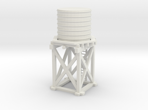 S Scale Water Tower 1:64 in White Natural Versatile Plastic
