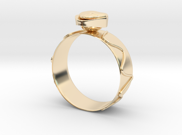 """GoldRing """"Heart"""" version1 in 14K Yellow Gold"""
