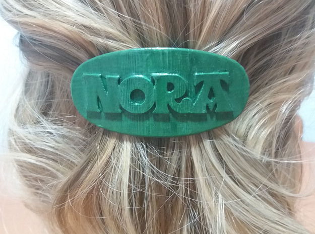 NORA Personalized Oval Hair Barrete 60-76 in White Natural Versatile Plastic