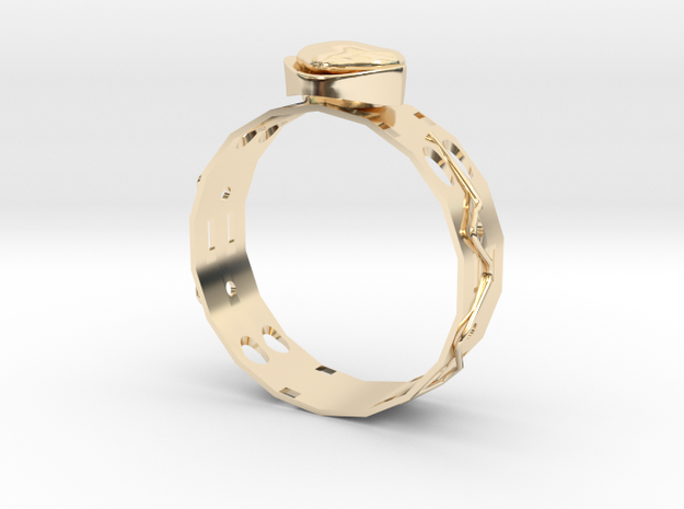 GoldRing version4 Heart Many Holes in 14K Yellow Gold