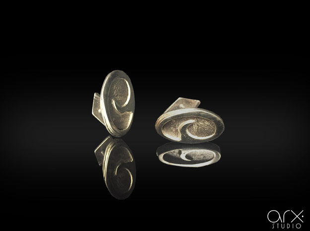 PRAAM Cufflinks in Polished Silver