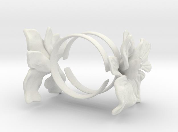 Orchid Bracelets in White Natural Versatile Plastic: Large