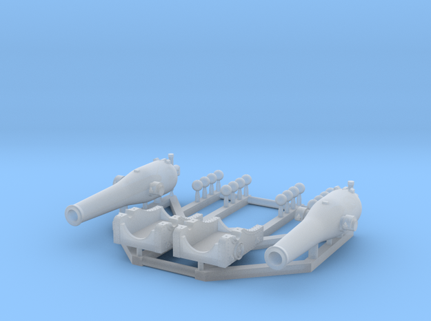 2 X 1/150 Dahlgren XI Smoothbore Cannon in Smooth Fine Detail Plastic