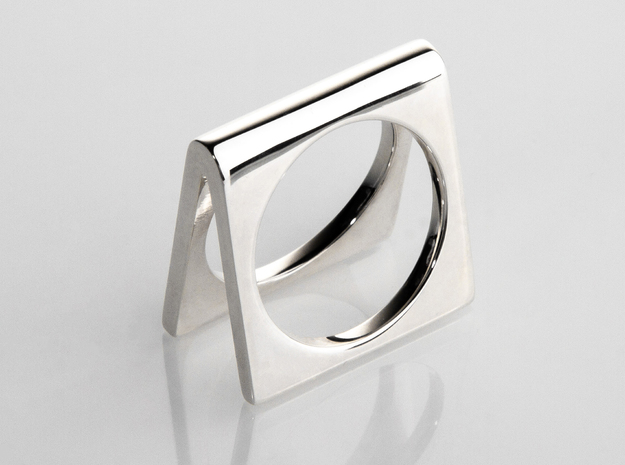 Ring - Ricoshae in Fine Detail Polished Silver: 6 / 51.5