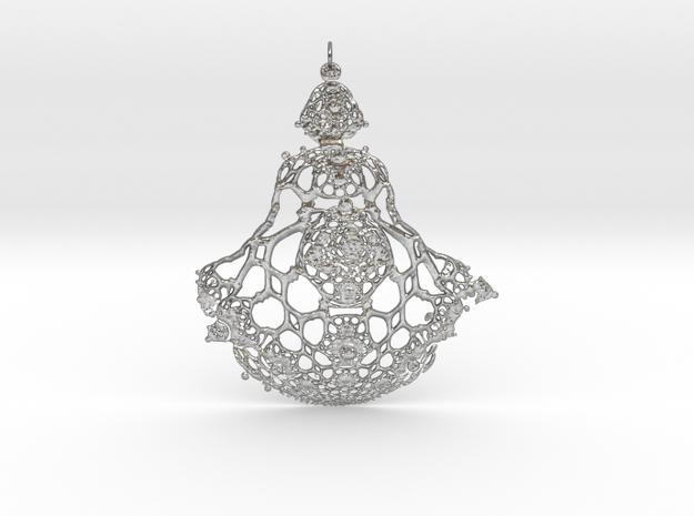 Fractal Pendant in Natural Silver