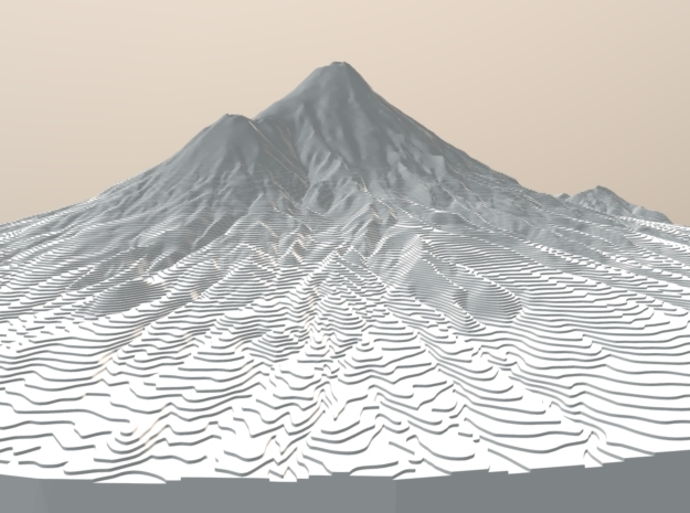 Mount Taranaki Map - Contours (10 Meter) - Large in White Natural Versatile Plastic