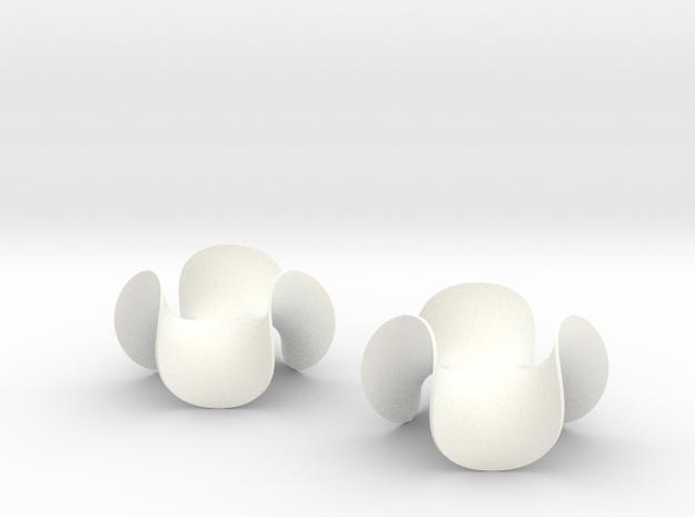 Enneper Earrings in White Processed Versatile Plastic