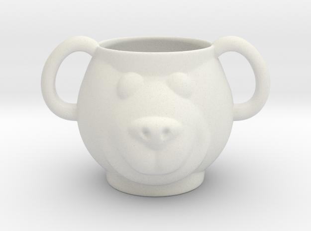 Bear Decorative Mug  in White Natural Versatile Plastic