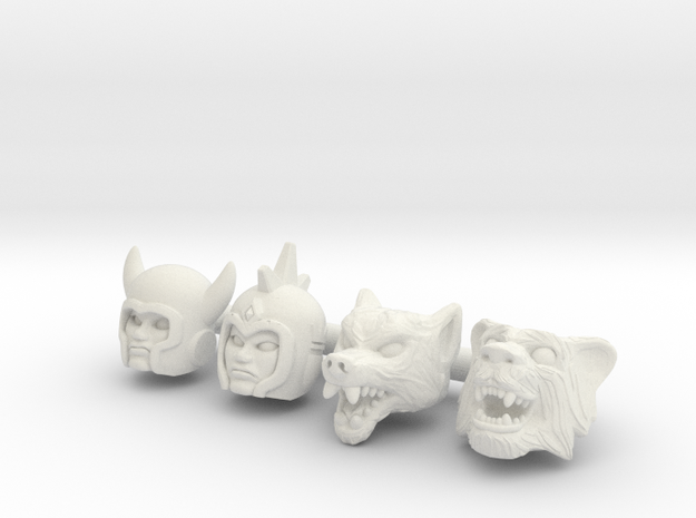 Galaxy Warrior Heads 4-Pack #2 - Multisize in White Natural Versatile Plastic: Extra Small