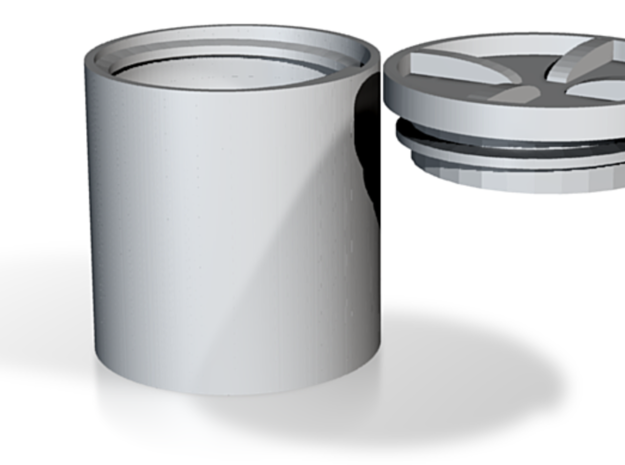 Container - lidded round inside thread in White Natural Versatile Plastic