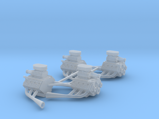 Set of 4 - Flathead V8 Supercharged w. Side pipes in Smooth Fine Detail Plastic