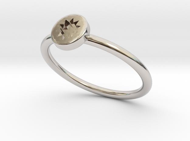 P O W E R  Slim - Engraved Star in Rhodium Plated Brass: 5 / 49
