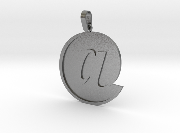 At Sign Letter Pendant Small in Natural Silver (Interlocking Parts)