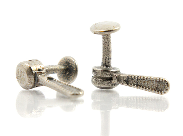 Bicycle Friction Shifter Cufflink in Polished Bronzed Silver Steel