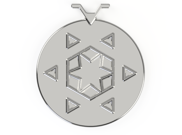 Snowflake Pendant Outline in Polished Silver