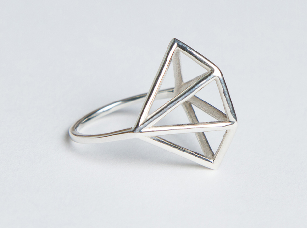 Ring - Diamas in Fine Detail Polished Silver: 6 / 51.5